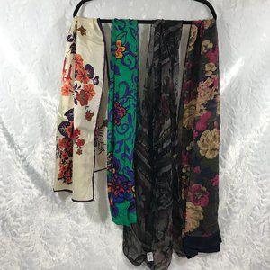 4 Vintage Scarves Various Sizes Lot Bundle Scarfs